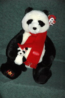 Large Plush Momma Panda Bear with Baby GUND  2001 Wish Bear  **PRICE REDUCTION! ***