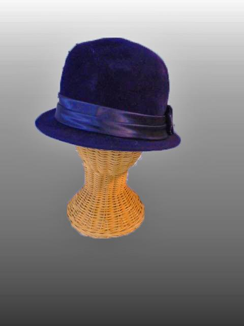 Vintage Genuine Velour Hat Dark Royal Blue Bowler Style size Small