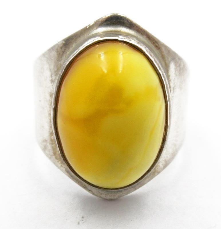 Egg Yoke Yellow Amber Cabochon Ring Sterling Silver