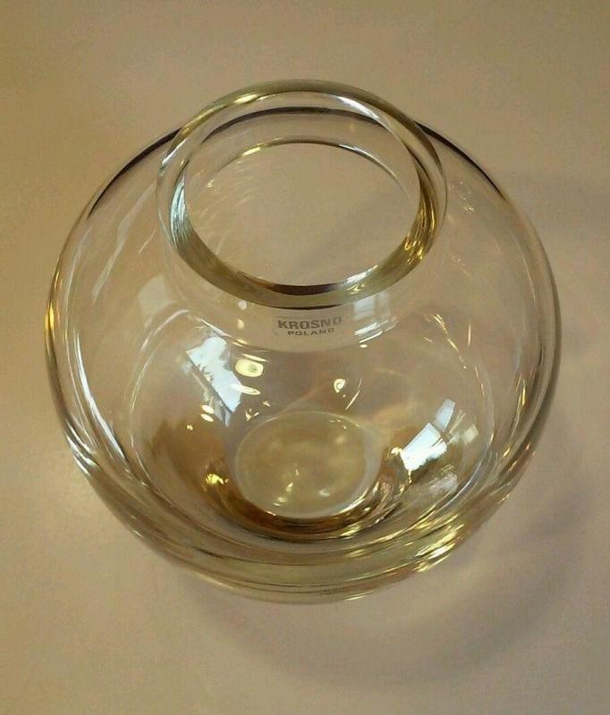 POLAND KROSNO CLEAR CRYSTAL GLASS VASE  Ginger Jar Shape