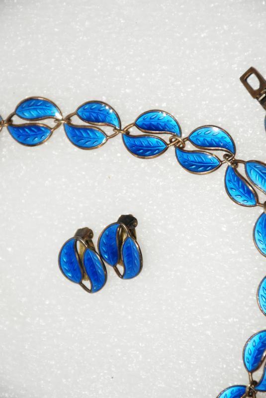 David Andersen Norway Blue Double Leaves Guilloche Sterling Silver   Enamel Necklace, Bracelet & Clip Earrings Set 4pc
