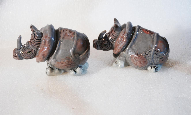 Novelty Rhino Rhinoceros Salt & Pepper Shakers Blue Sky Lynda Corneille