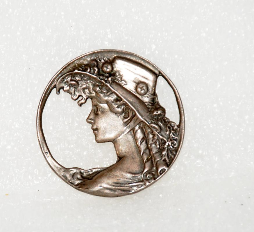 Art Nouveau Cast Sterling Silver Woman in Hat Round Brooch Pin