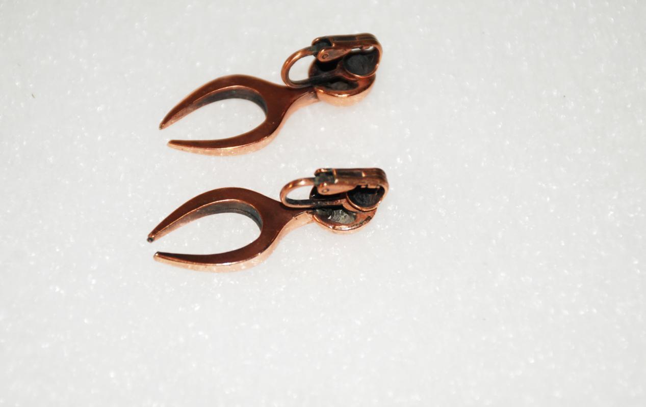 Modernist Copper Earrings, Abstract Wish Bone Shape Clip On's