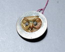 Antique  Brass Owl Button  Marcasite eyes
