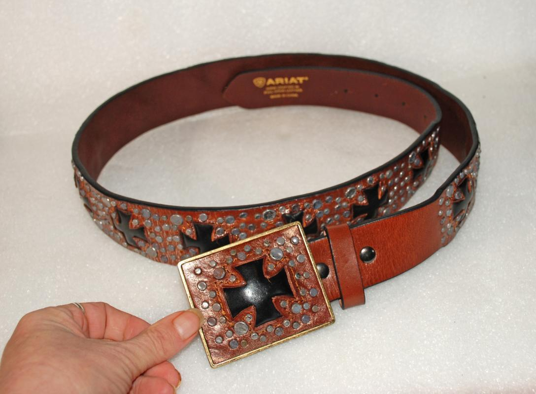 Ariat Studded Leather Belt, Teutonic Crosses with Matching Buckle New, Never Worn  46