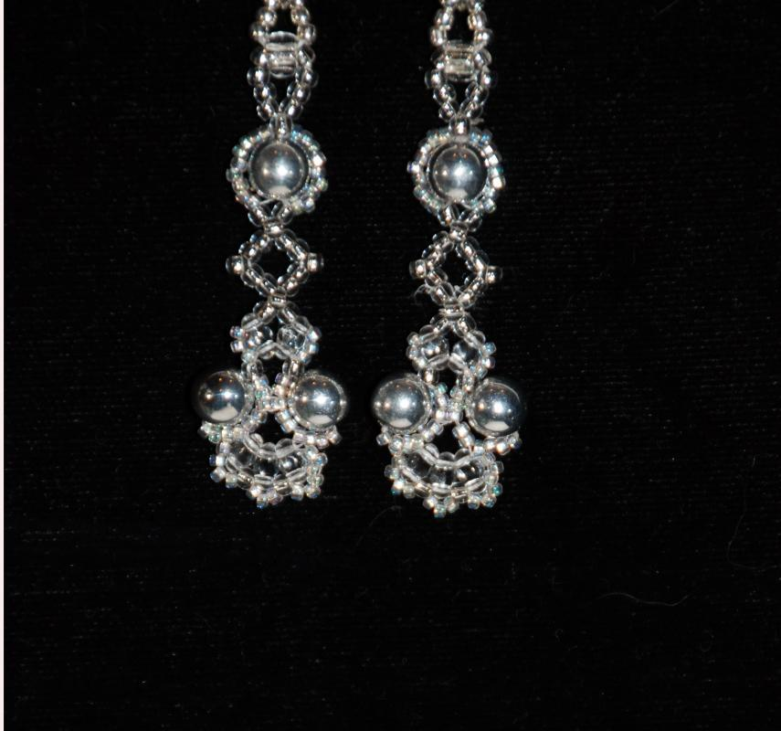Wedding Day Earrings Silver & Crystal Dangle Earrings with Silver Pearls Beads, Hand Crafted One of a Kind