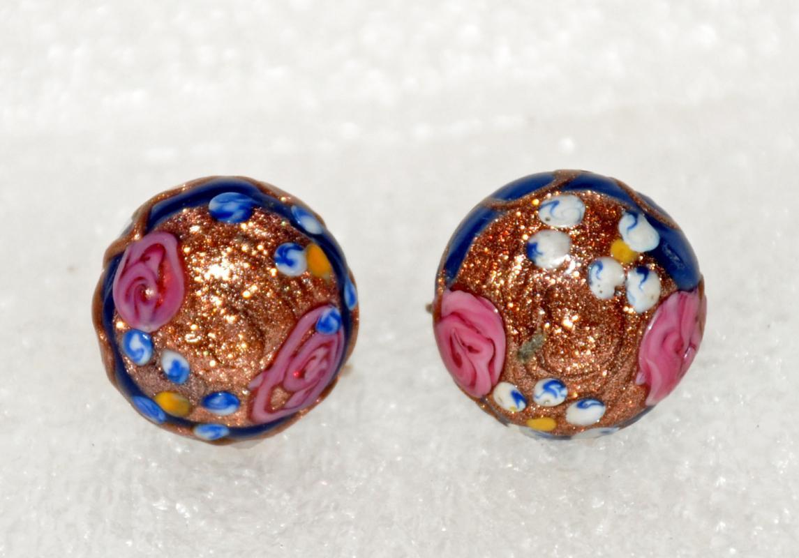 Vintage  Aventurine Venetian  Glass Wedding Cake Earrings , Dark Blue , Pink, Gold