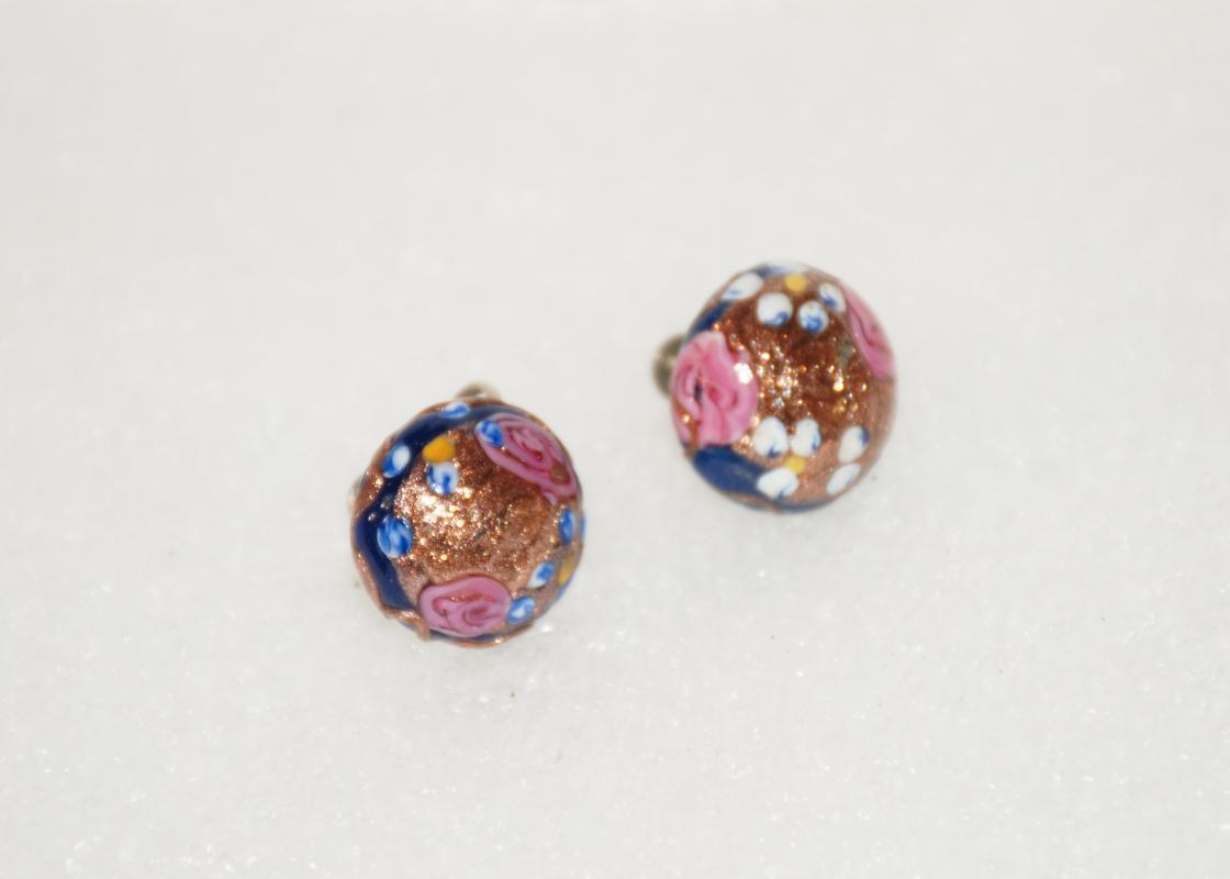 Vintage  Aventurine Venetian  Glass Wedding Cake Earrings , Dark Blue , Pink, Gold