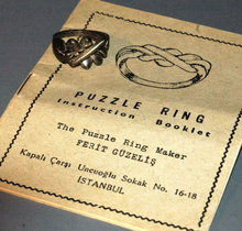 Vint. 800 silver Puzzle Ring with Booklet