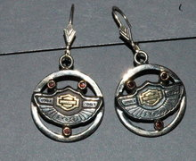 Harley Davidson 10K  Garnet, SS 100 yr Earrings