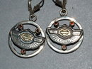 Harley Davidson 10K  Garnet, SS 100 yr Earrings
