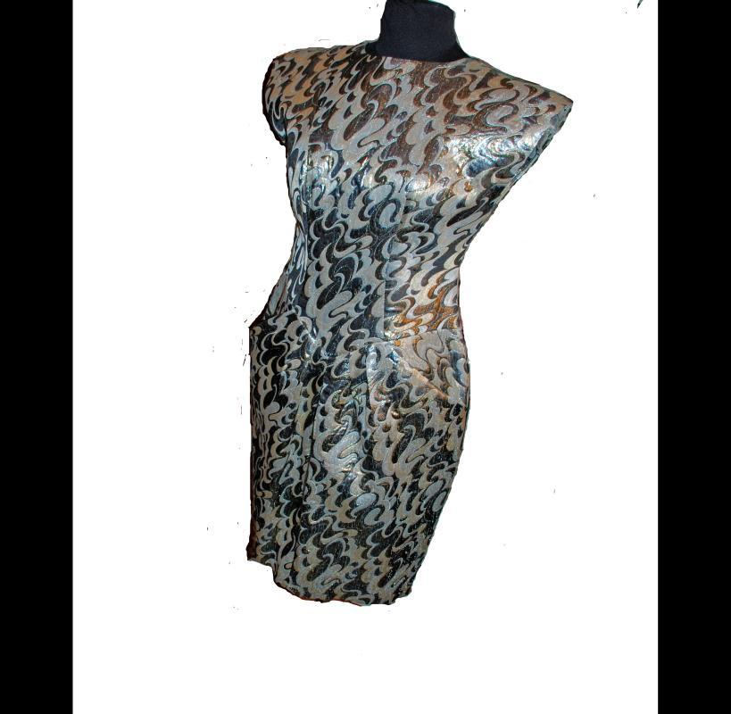 Vintage Lame Disco Party Dress Gold Silver, with pockets sz Large