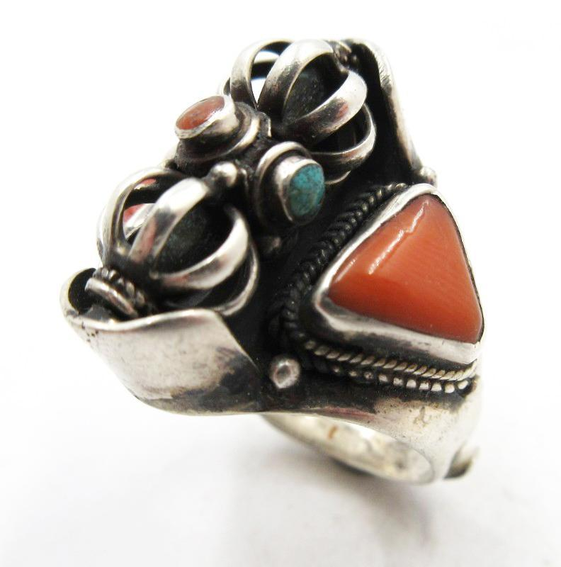 Sterling Silver Turquoise Coral Spinning Center Cage, Ethnic Adjustable