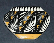 Hand painted Ceramic Acoma Pottery Pin -signed Southwest Native American Art