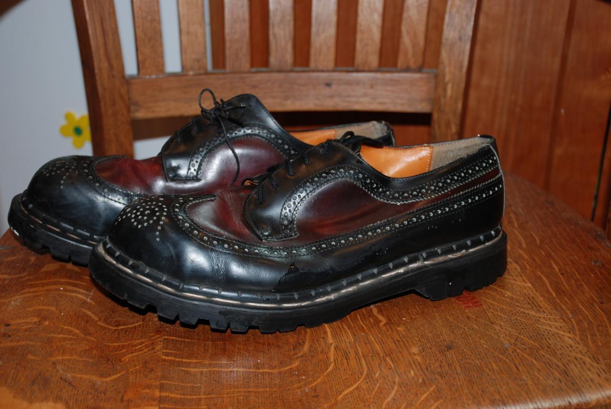 Vintage Gripfast Wing Tip 5 Eyelet American Brogue Black & Burgundy Steel Toe Men's Shoes size 10