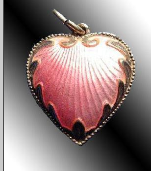 PINK GUILLOCHE ENAMEL & STERLING SILVER ANTIQUE ART NOUVEAU HEART CHARM Signed