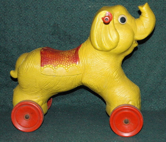 Adorable Plastic Vintage Elephant Riding Toy  **PRICE REDUCED!*