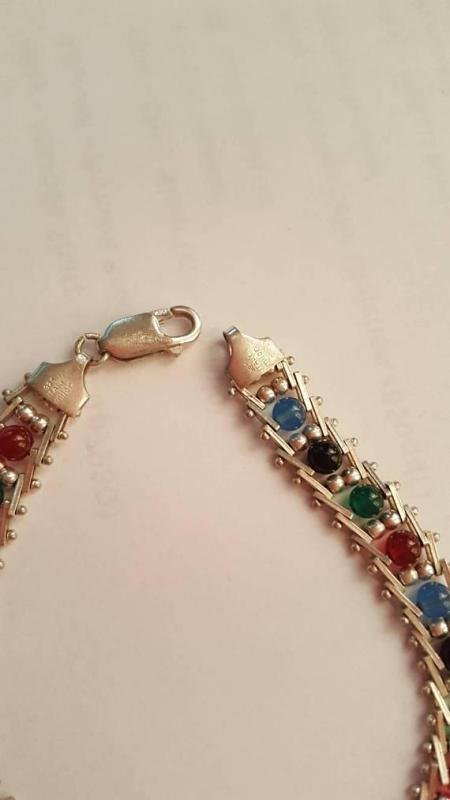 Milor Sterling 925  Bracelet Multi-Color Gemstone Beads & Ladder Links