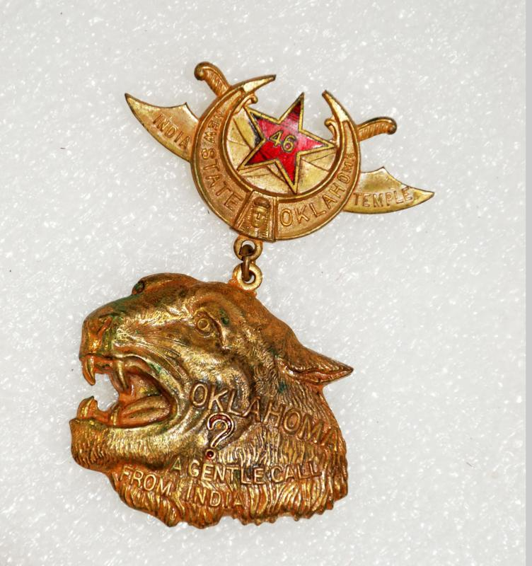 RARE SHRINERS INDIA NEW STATE OKLAHOMA TEMPLE ? A GENTLE CALL FROM INDIA PIN Brass Tiger