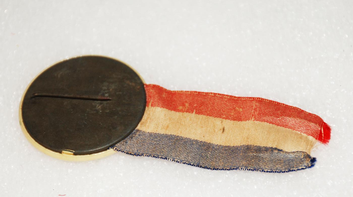 FIRST INAUGURATION PIN CELLULOID PINBACK 1907 OKLAHOMA GUTHRIE NOVEMBER 16 WITH RIBBON
