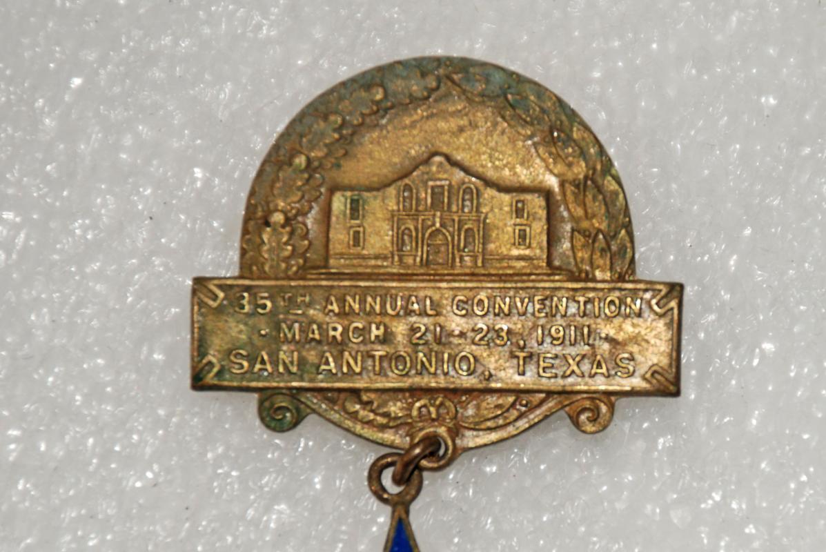 CATTLE RAISERS ASSOCIATION OF TEXAS PIN 1911 35TH ANNUAL MEETING SAN ANTONIO,TX