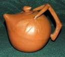 Unusual  Handcrafted   Clay Teapot Terra-cotta ** PRICE REDUCED! **