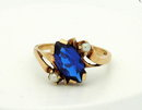 Royal Blue Spinel & Seed Pearl Gold  Ring