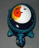 Folk Art Mexican Painted Terra Cotta Turtle covered container