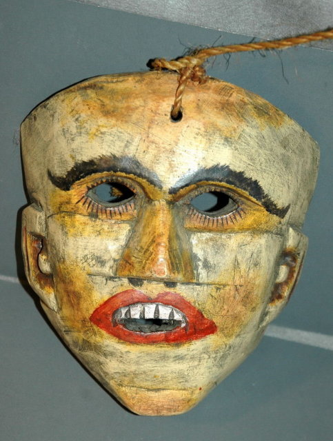 Vintage Guatemalan Hand Carved Wood Mask