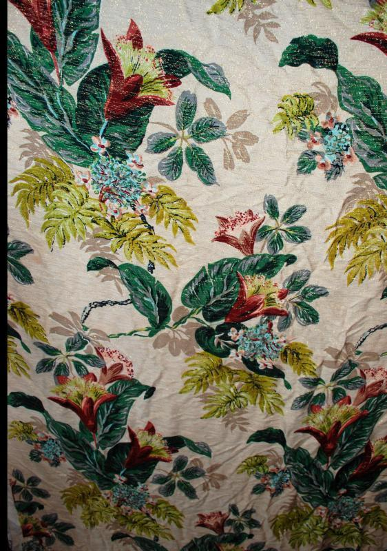 Barkcloth Fabric  Cohama Vat Tia Juana Exotic Flowers Leaves Hand Print Mid-Century Drapery Fabric Remnant