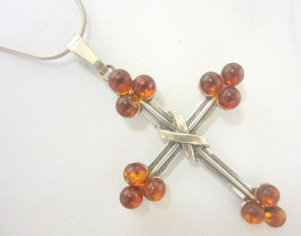 Large Italian Sterling Silver & Amber Cross Pendant Necklace
