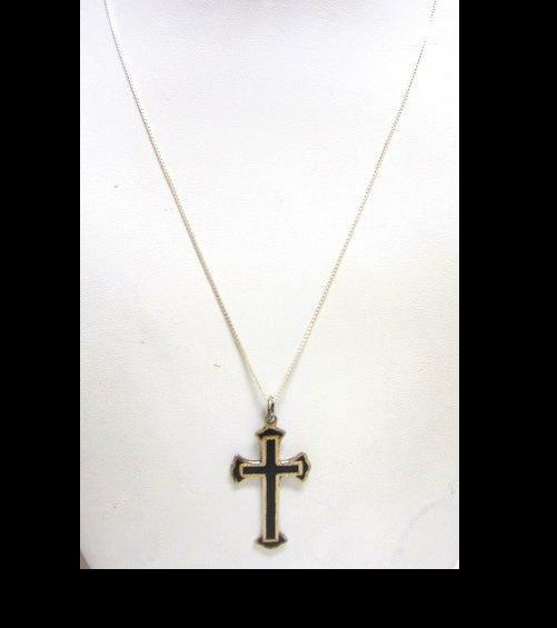 Large  Sterling Silver & Black Onyx Cross Pendant Necklace with Chain  Gothic