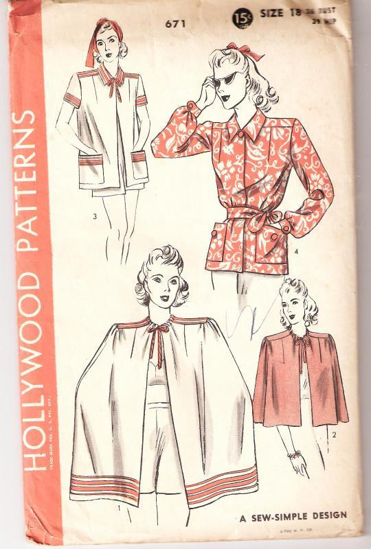 Hollywood Pattern  Sew Simple Design 671 Top, Smock, Cape, A Sew Simple Design  Uncut 1930's