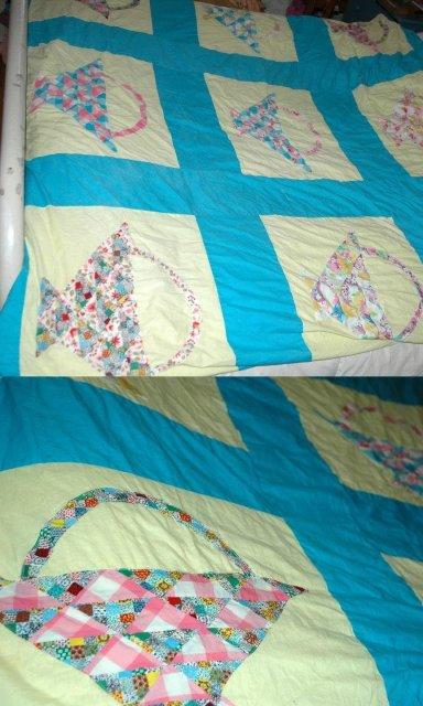 Unfinished Patch work Applique Basket Quilt