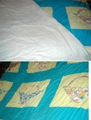 Unfinished Patch work Applique Basket Quilt