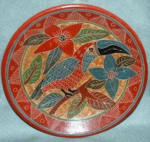 Old Mexican Toucan Plate Folk Art Terra-cotta