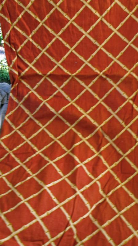 Mid-Century Cohama Vat Screen Print  Decorator Fabric Pomp Ano Bamboo Over 4 yards x 54