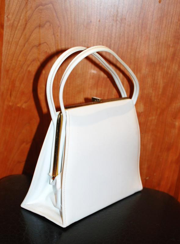 Theodor California Vintage Purse White Vinyl  Hand bag Kelly Purse