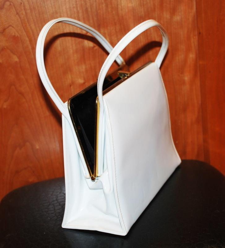 Theodor California Vintage Purse White Vinyl  Hand bag Kelly Purse