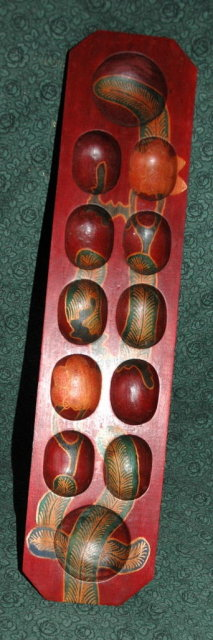 Beautiful Painted Wood  African Oware Game