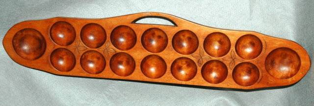 Hand Carved African Oware  Game Board
