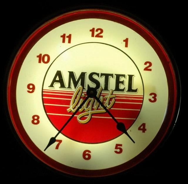 Amstel Lighted Beer Sign Clock -Vintage **PRICE REDUCED**!!