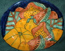 Old Mexican Folk Art Talavara Platter, signed