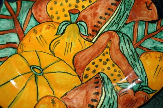 Old Mexican Folk Art Talavara Platter, signed