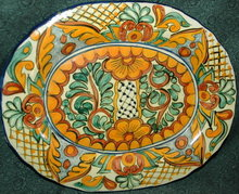 Lovely Old Mexican Oval Talavara Platter-