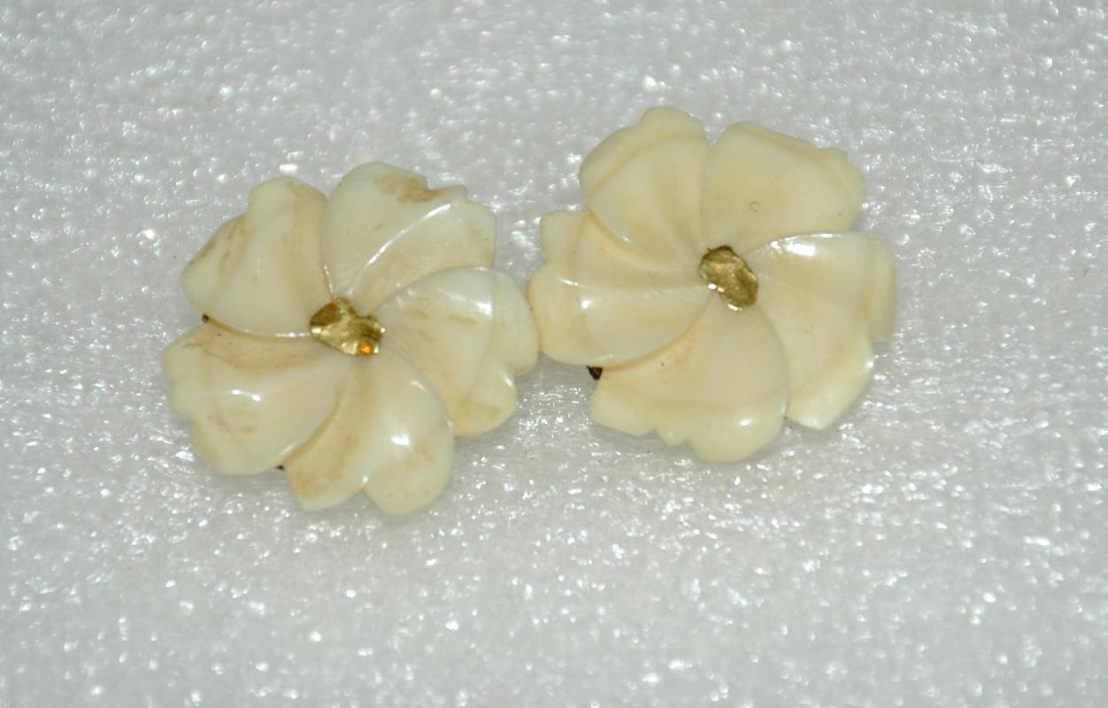 Carved Gold Nugget Bone Ivory Earrings  Old Clip On's
