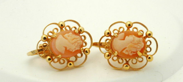 Carved Shell Cameo Sorrento Clip On Earrings