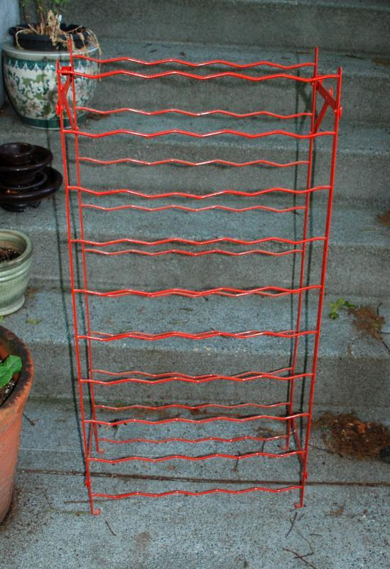 French Wine Rack by Rigidex,  Mid-Century  Red Metal Folding Floor Standing or Wall Mount