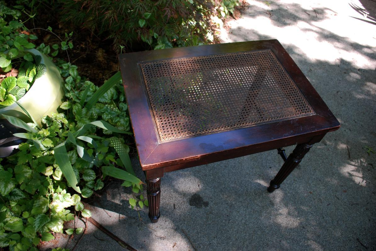 ANTIQUE PIANO BENCH  WITH CANE  SEAT  Victorian